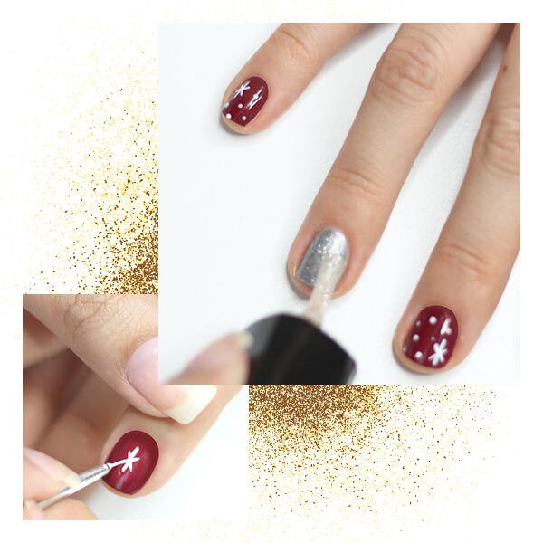 Decoración uñas navideñas glam paso dos estrella