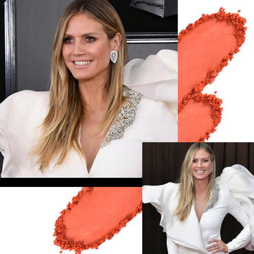 Heidi Klum outfit Blanco Tridimensional Grammy 2019 Rubor Durazno Intense de Esika