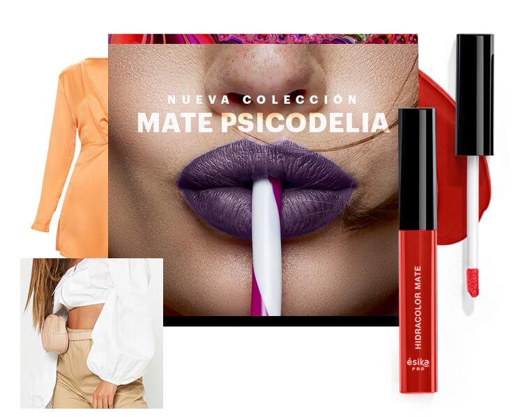 ¡Dime el color de tu labial y te diré el look que va contigo! Nueva Colección: Mate Psicodelia Portada