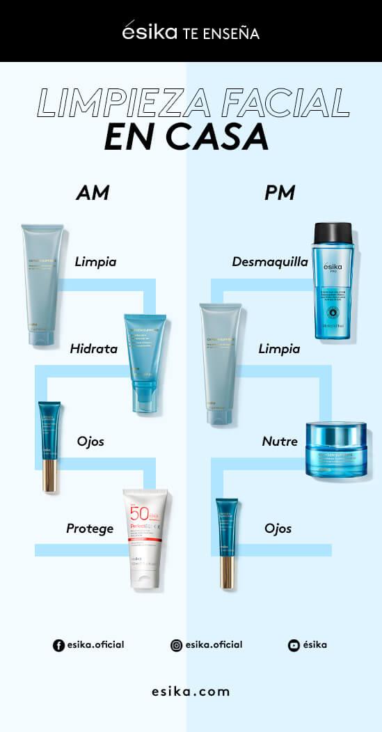 Rutina de limpieza facial de día y noche - Esika