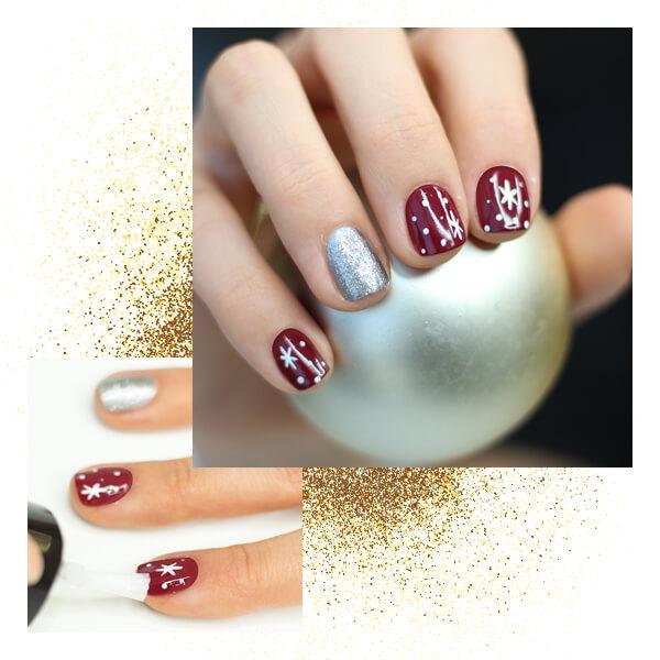 Decoración uñas navideñas glam paso cuatro aplicacion brillo