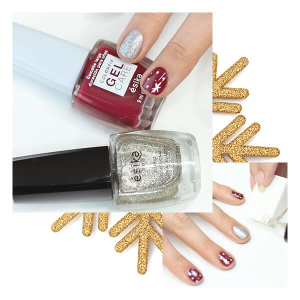 Decoración uñas navideñas glam paso tres esmalte esponja