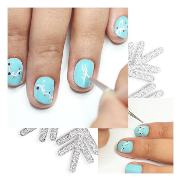 Decoración uñas navideñas divertidas paso tres puntitos de colores