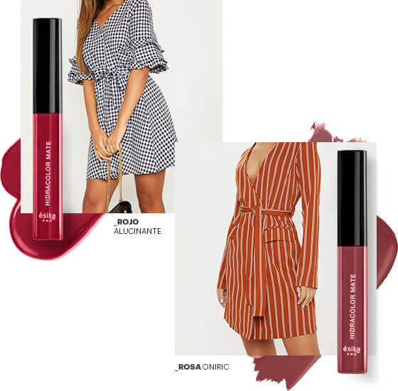 Combinacion prenda brunch con labial Rojo Alucinante - Rosa Oniric